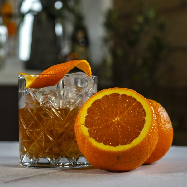 Old Fashioned cocktail + fruit